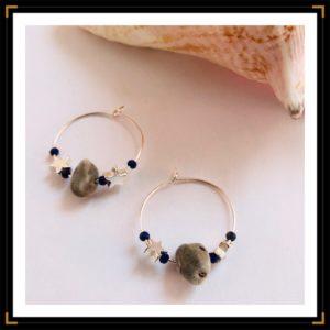 Petites creoles argent zanzibar lapis lazuli coquillage