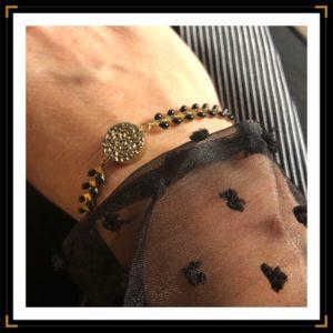 zauthentiques bracelet hematite ronde verso plumetis