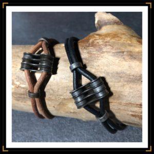 zinseparables bracelets cuir acierinox noir marron bois