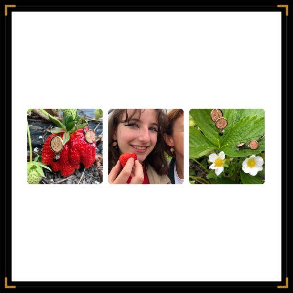 Zephemeres duo bo bronze triptyque fraises mere fille
